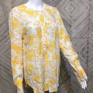 j.crew womens M floral mustard print Henley